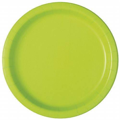 Platos Verde NEÓN Cartón 23cm (16 uds)