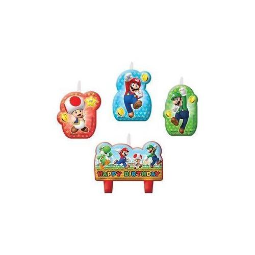 Vela personajes Super Mario (4 uds)