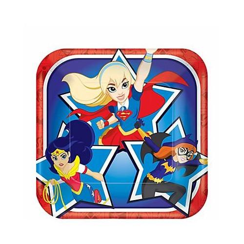 Platos Super Hero Girls 18 cm cuadrados (8 uds)