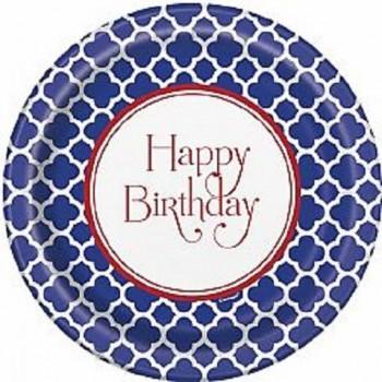 8 Platos 23cm Happy Birthday