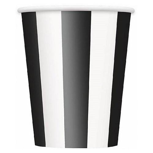 Vasos de cartón negro con rayas 250 ml (6 uds)