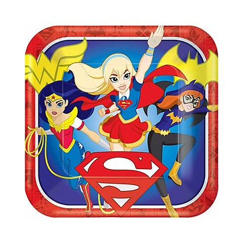 Platos Super Hero Girls 23 cm cuadrados (8 uds)