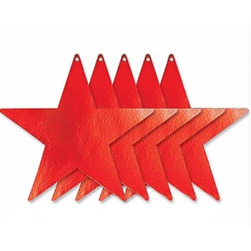Estrellas recortables color rojo (5 uds)
