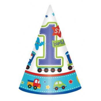 Gorros 1er Cumpleaños Niño (6 uds)