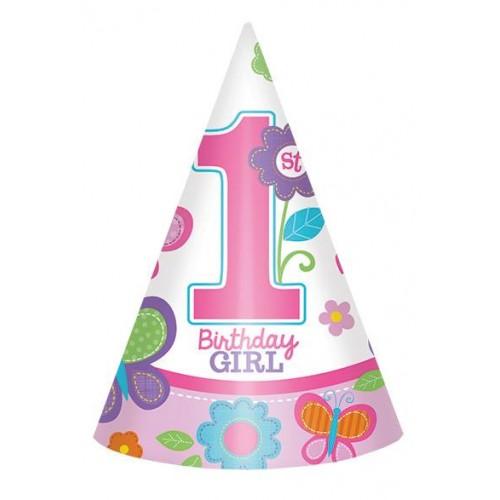 Gorros 1er Cumpleaños Niña (6 uds)