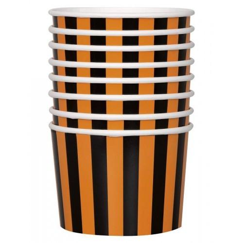 Tarrina de cartón rayas naranja y negra (8 uds)