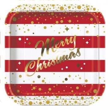 Platos cuadrados Merry Christmas 23 cm (8 uds)