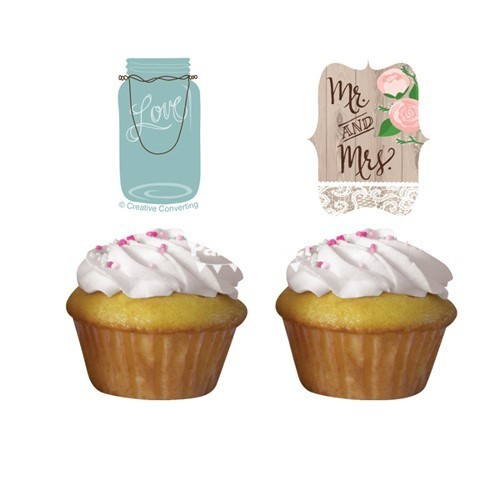 Cupcake Toppers Rustic Wedding (12 uds)