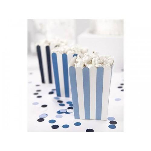 Cajitas Palomitas Rayas 3 tonos Azul (6 uds)