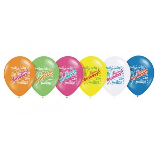 "Globos surtidos ""Happy Birthday"" (6 uds)"