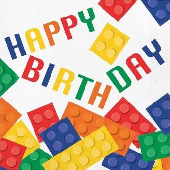 Servilletas Block Party Happy Birthday Grandes (16 uds)