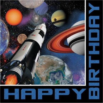 "Servilletas Space Blast ""Happy Birthday"" Grandes (16 uds)"
