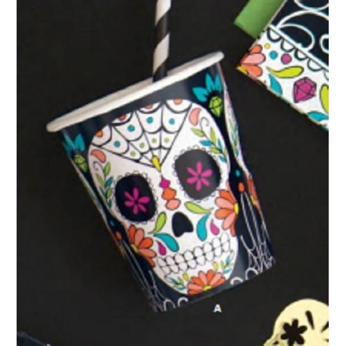 """Vasos """"Día de los Muertos"""" 266ml (8 uds)"""