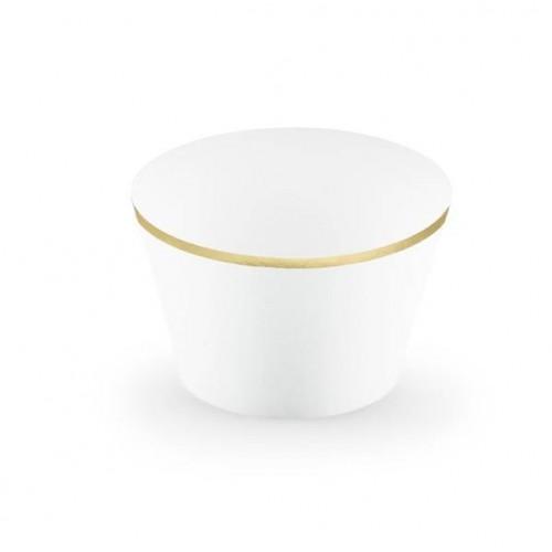 """Envoltorios para Cupcakes """"ELegant""""  blanco/oro (6 uds)"""