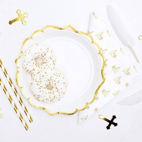 Platos blancos con bordes dorados (6 uds)