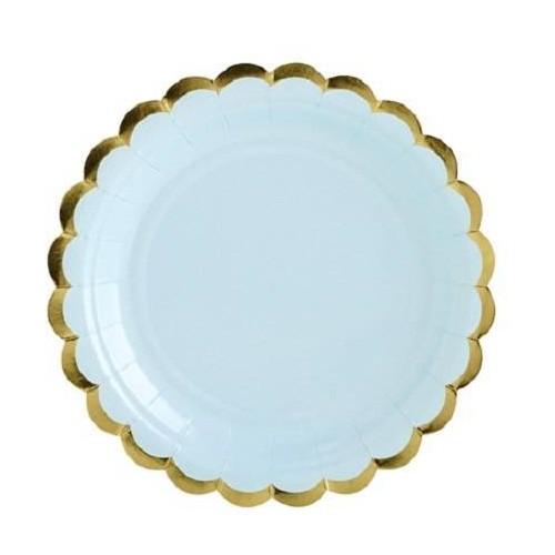 Platos azul claro con bordes oro 18 cm (6 uds)