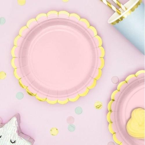 Platos rosa claro con bordes oro 18 cm (6 uds)