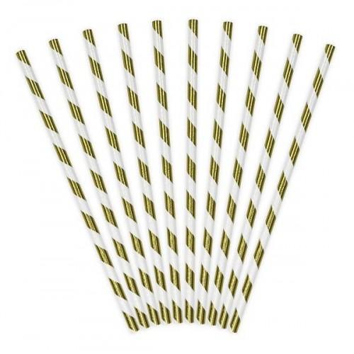 Pajitas rayas oro (10 uds)