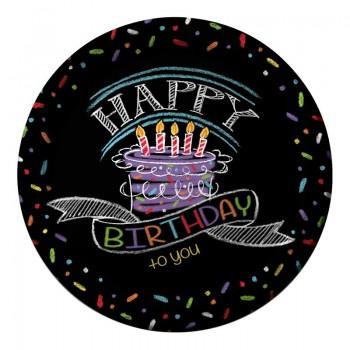 Platos 23cm Chalk Birthday (8uds)