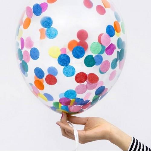 Globos transparente Confetti colores (6 uds)