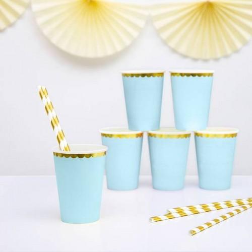 Vasos Azul Claro con borde Oro 220 ml (6 uds)
