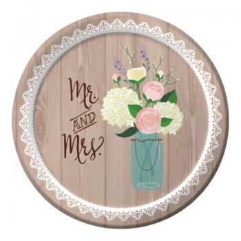 Platos 18cm Rustic Wedding (8 uds)