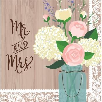 Servilletas Grandes Rustic Wedding (16 uds)