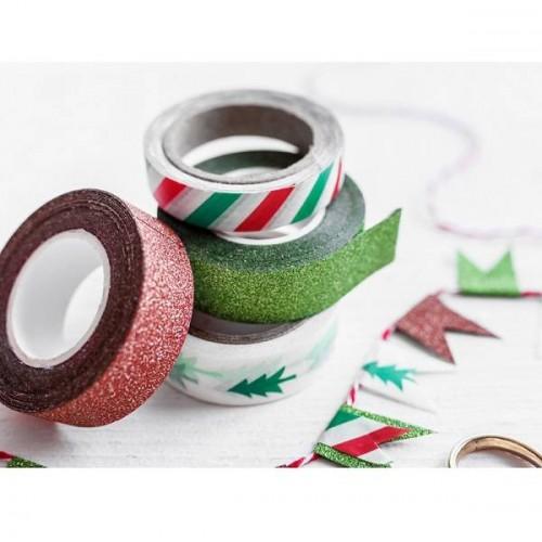 Cinta decorativa adhesiva Merry Xmas (4 uds)