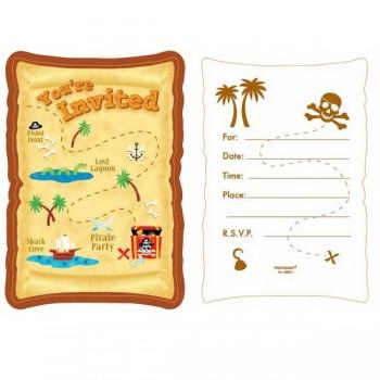 Invitaciones Mapa Del Tesoro Pirata (8 uds)