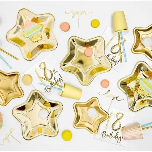 Platos forma estrella oro (6 uds)