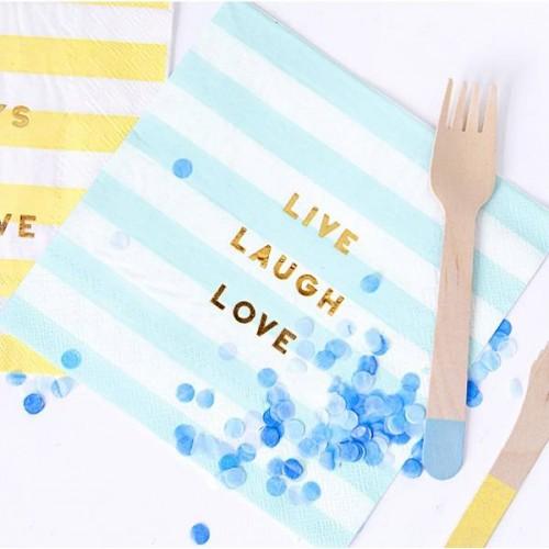 Servilletas rayas azul pastel con texto (20 uds)