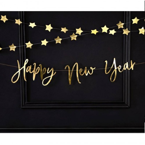 "Guirnalda ""Happy New Year"" oro cursiva (1 ud)"