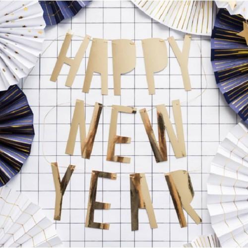 """Guirnalda """"Happy New Year"""" oro  (1 ud)"""