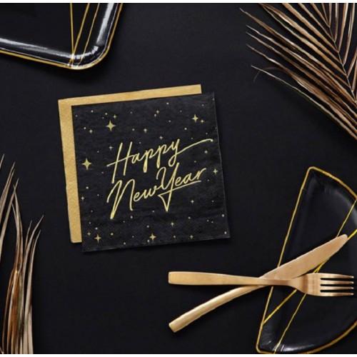 "Servilletas ""Happy New Year"" negras (20 uds)"