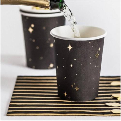 Vasos negros con estrellas oro (6 uds)