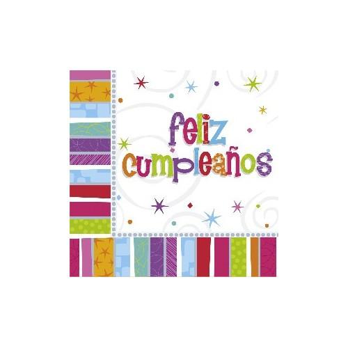 Servilletas Grandes Feliz Cumpleaños Radiante (16 uds)