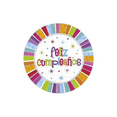 Platos 23 cm Feliz Cumpleaños Radiante (8 uds)