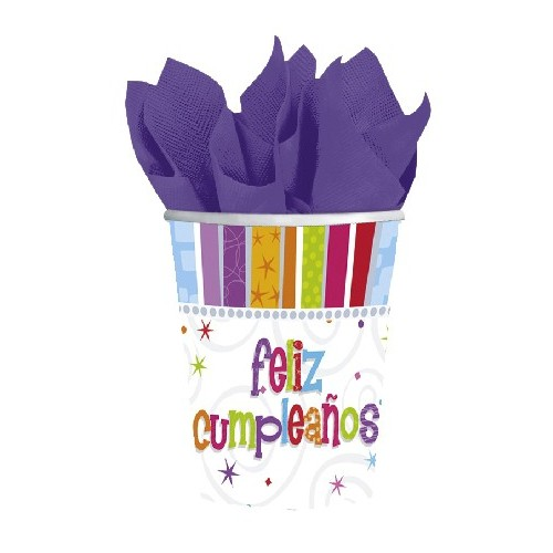 Vasos 266 ml Feliz Cumpleaños Radiante (8 uds)