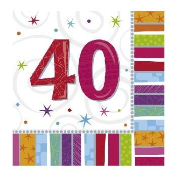 """Servilletas Grandes """"40 años"""" Radiante (16 uds)"""