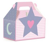 """Los productos del tema """"Fiesta de Pijamas"""" tienen imágenes de estrellas, nubes, corazones y flores, cajita fiesta pijama estrella"""